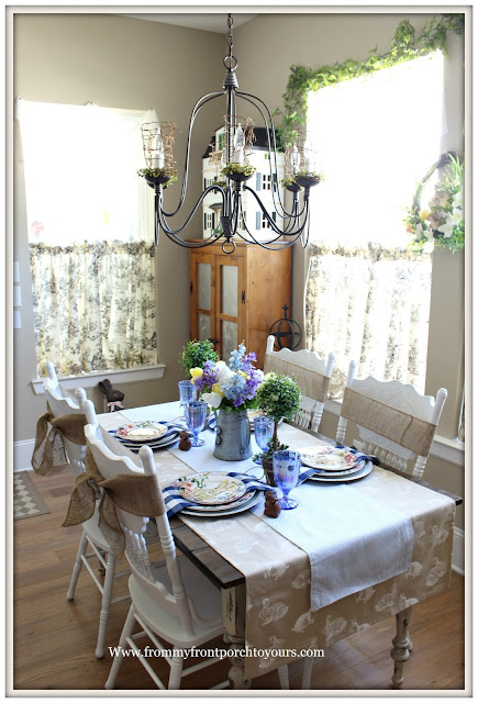 Spring-Easter-Tablescape-Cottage-French Farmhouse-Bunnies-Buffalo Check-Pottery Barn- Pioneer Woman-Farmhouse-From My Front Porch To Yours