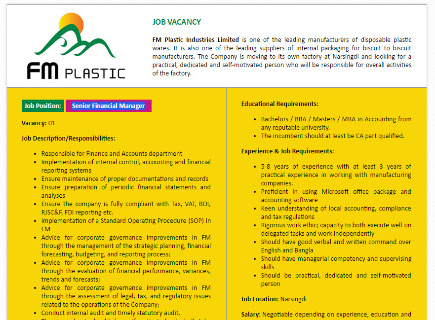 Fm Plastic Industries Limited Senior Financial Manager Job Circular