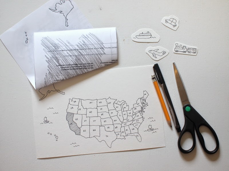 transfer your map onto watercolor paper by rubbing the back with pencil
