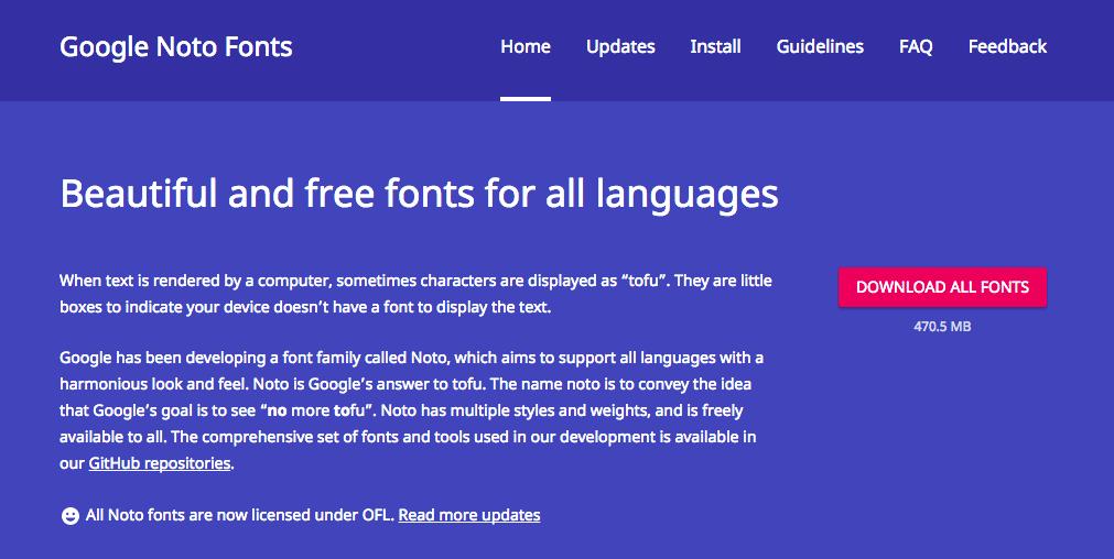 Google Noto 字型全套免費下載,支援800種語言漂亮免費字型