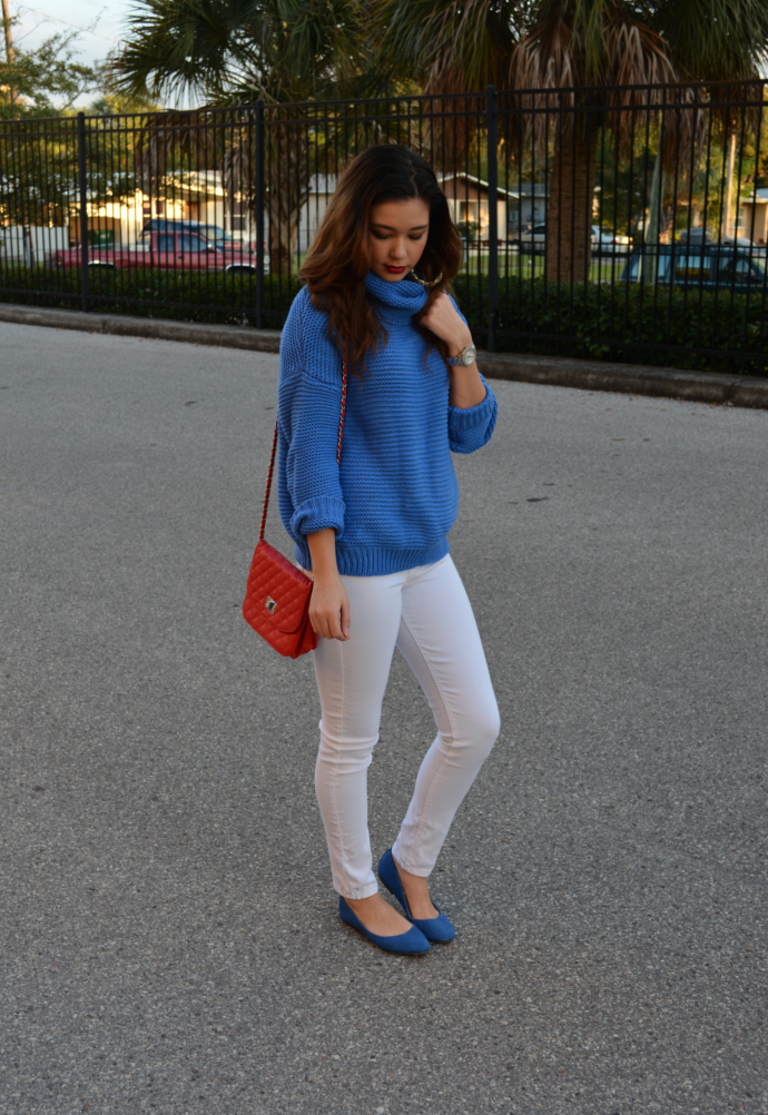 Turtle Neck Pullover Sweater, Red quilted bag, white skinny jeans outfit, Oasap, Turtle Neck, Oasap Turtle Neck Sweater, Knit, Charlotte Russe White Skinny Jeans, Charlotte Russe Skinny Jeans, Skinny Jeans