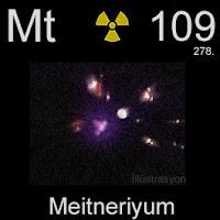Meitneriyum elementi üzerinde meitneriyumun simgesi, atom numarası ve atom ağırlığı.