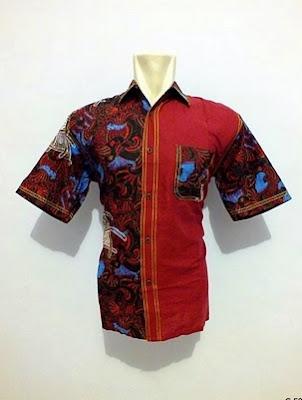 Desain kemeja batik pria kombinasi polos