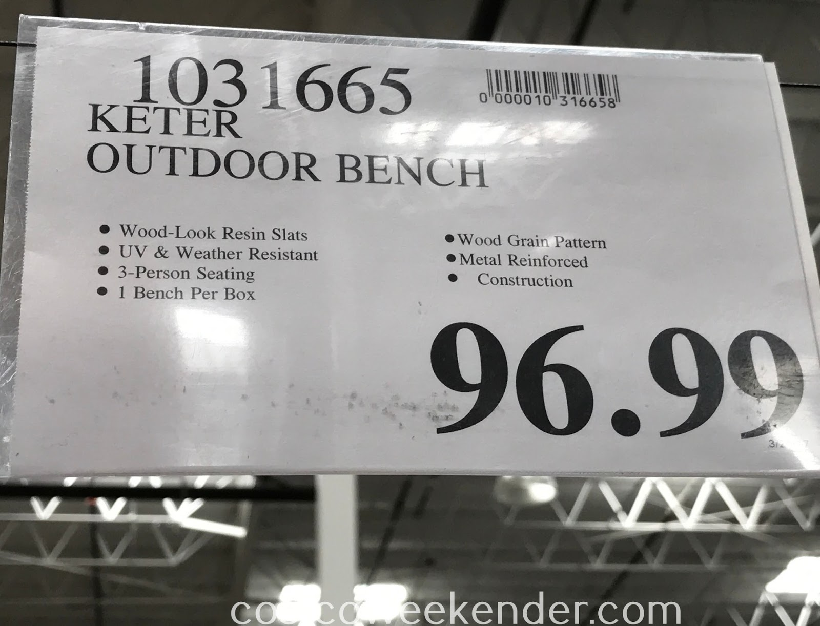 Deal for the Keter Outdoor Bench at Costco