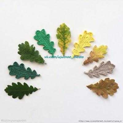 Folhas de crochê para aplicação com gráfico
