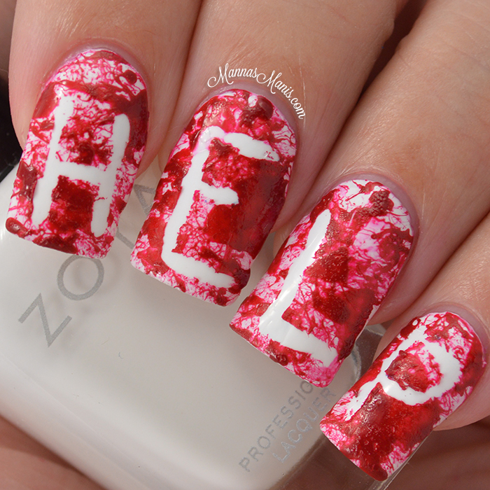 """Help"" Blood Splatter Halloween Nail Art Tutorial - Manna ..."