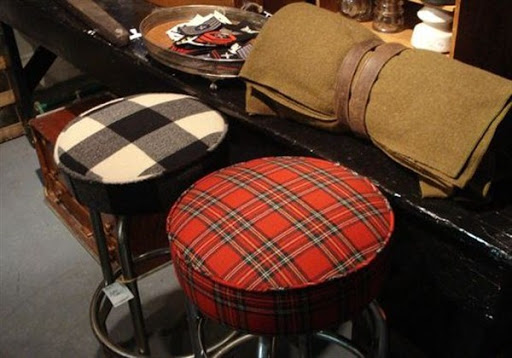Custom plaid cushions for bar stools