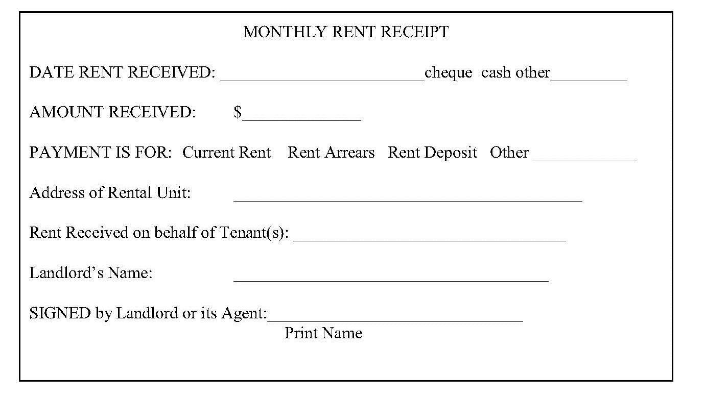 Rental Receipt Templates landlord rent receipt free printable – Rental Receipt Sample