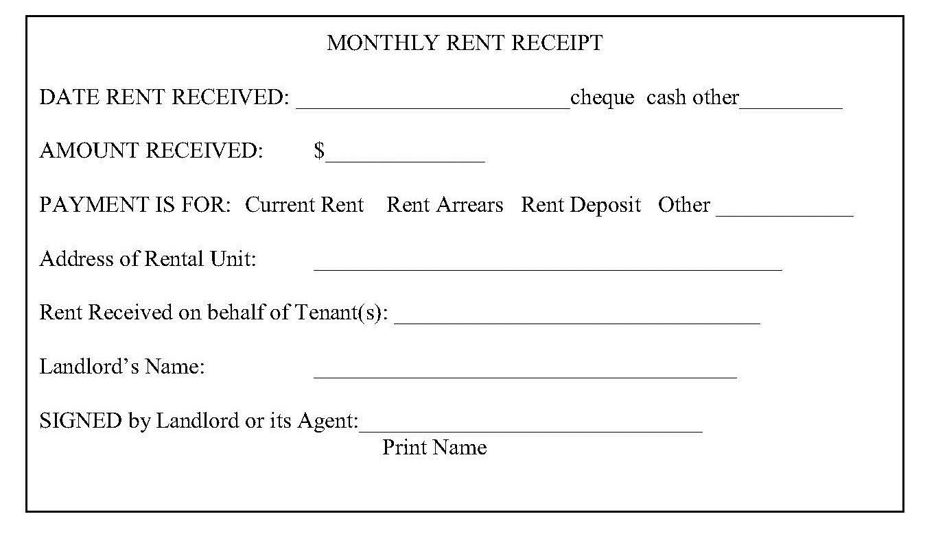 house rent receipt – Rent Slip