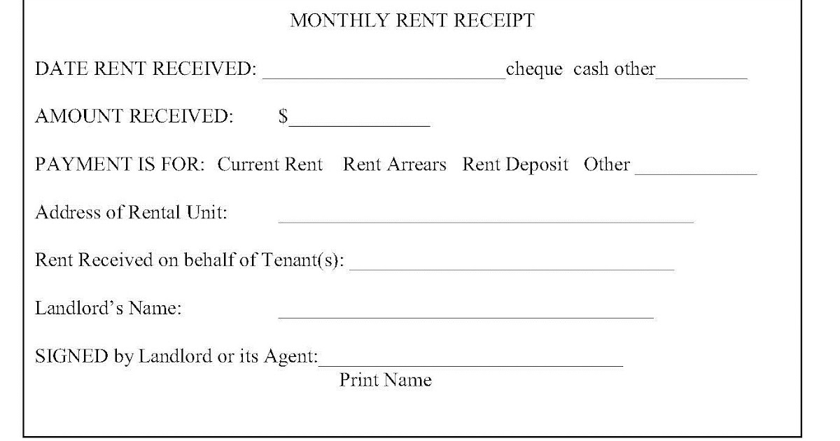 Ontario Landlord and Tenant Law RENT RECEIPTS WHAT IS REQUIRED - monthly rent receipt