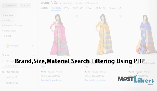 Product Brand,Size,Material Checkbox Search Filtering Using PHP And Jquery