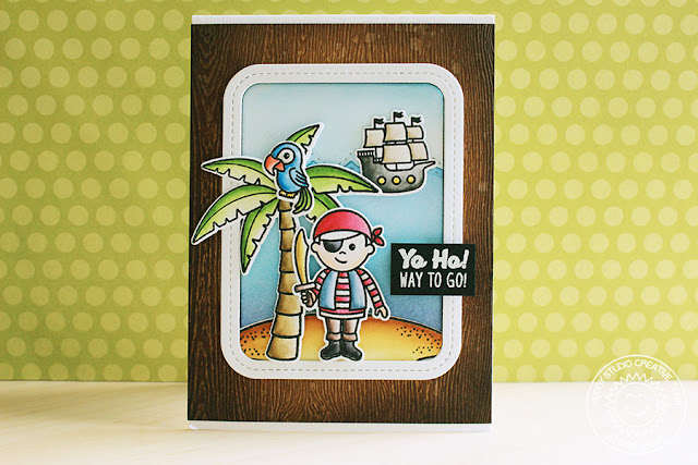 Sunny Studio Stamps: Pirate Pals And Island Getaway Pirate Card by Eloise Blue