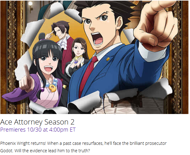 Ace Attorney Season 2 Simuldub October 30 Funimation