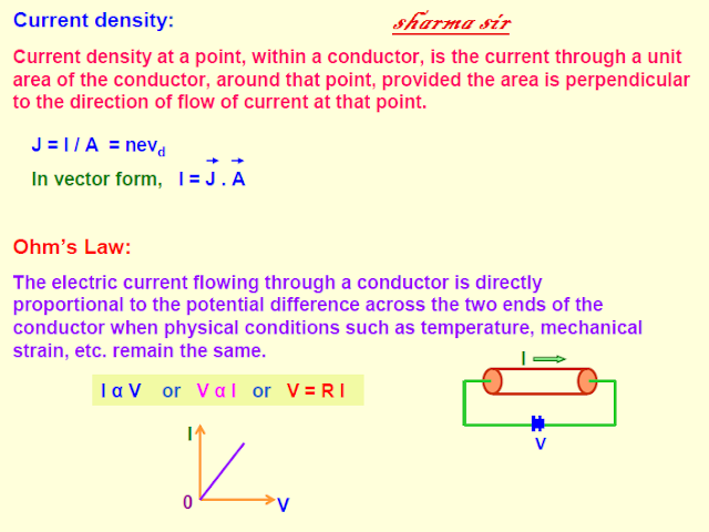 current electricity,conventional current,drift velocity,current density,ohm law,combination of resistance,