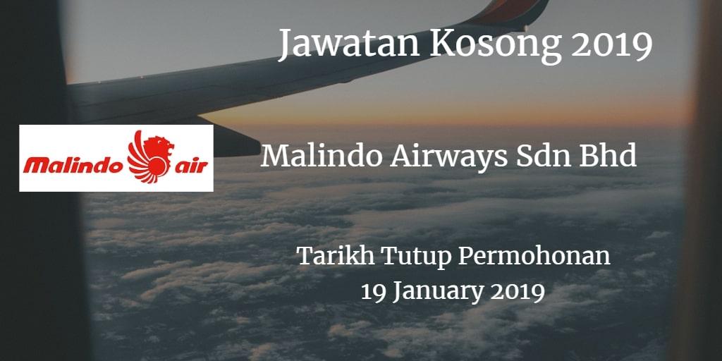 Jawatan Kosong Malindo Airways Sdn Bhd 19 January 2019