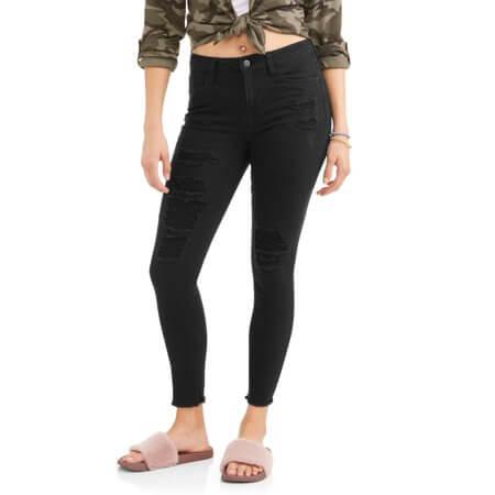Walmart No Boundaries destructed skinny jeans with frayed hem
