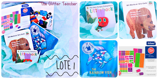El LOTE 1 incluye los cuentos: The Very Hungry Caterpillar's Litle Book; Brown bear, brown bear, what do you see?; y The Rainbow fish además del paquete básico de Stikets.
