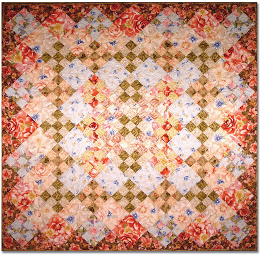 Summer Bloom Quilt designed by Diana McClun & Laura Nownes for Robert Kaufman, Machine Quilted by Victoria Simpson