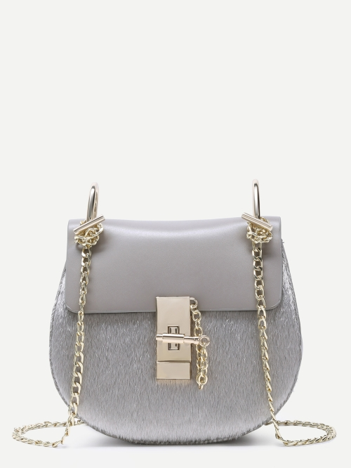 Grey Saddle Bag With Chain Strap