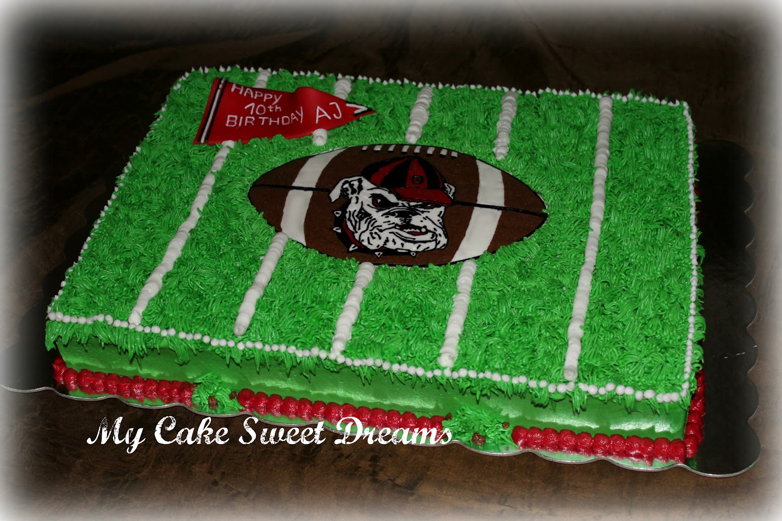Fabulous Cakesbyzana Georgia Bulldog Football Field Cake Funny Birthday Cards Online Elaedamsfinfo