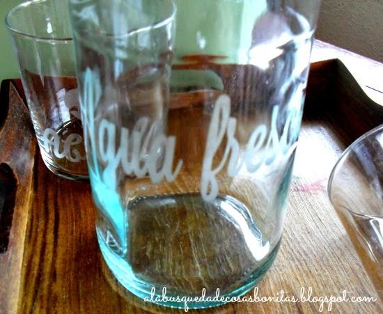 Vasos de cristal grabados con ácido