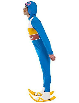 Side view of Eddie The Eagle Costume