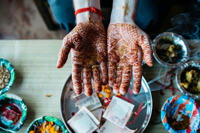 Picture of two hands painted with henna