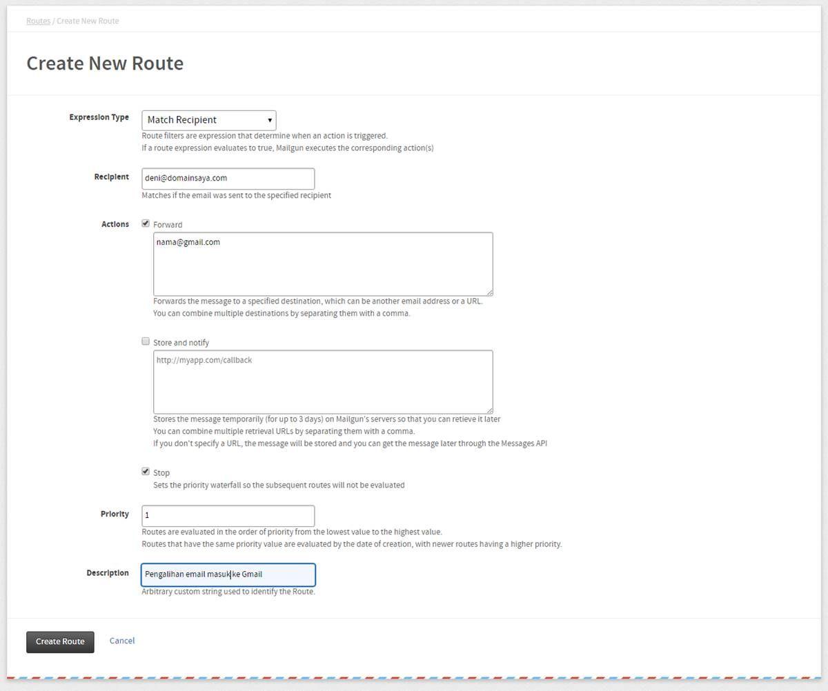 Create new route mailgun