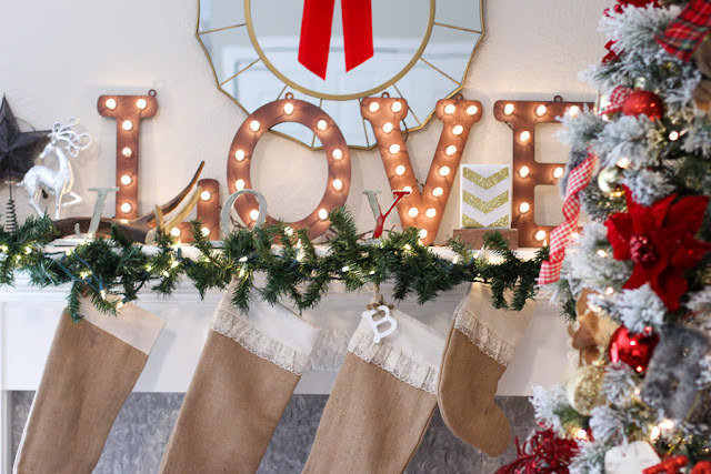 love marquee mantle decor