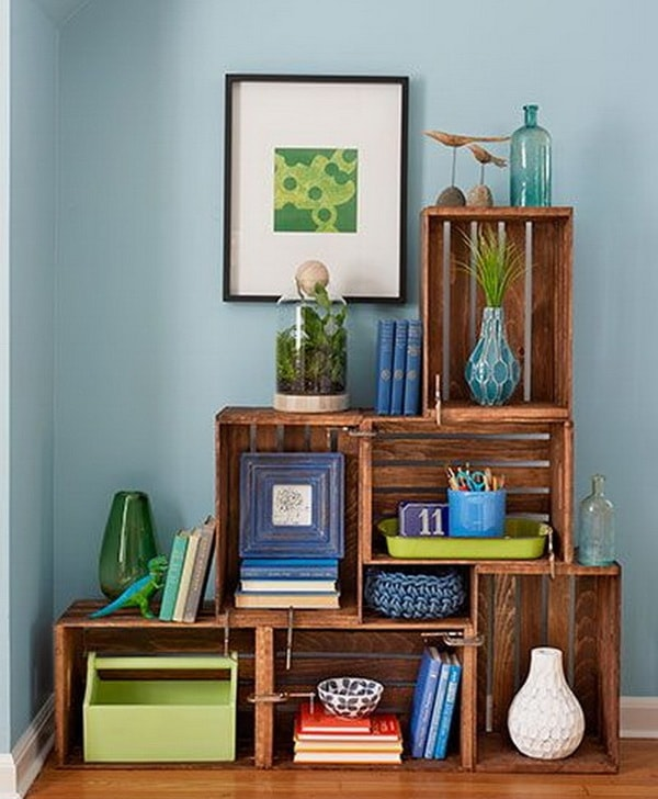Decoration with wooden boxes 5