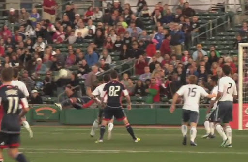 New England midfielder Benny Feilhaber scores with a bicycle kick against LA Galaxy