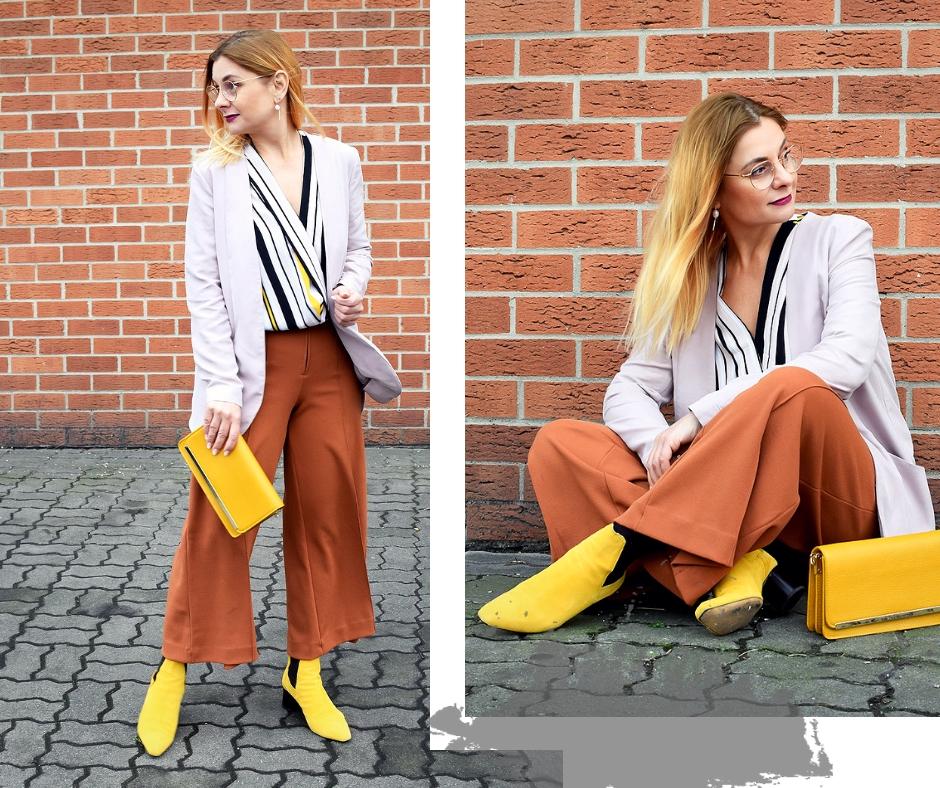 Wie kombiniere ich modisch gelb?, Outfit mit Colorblocking