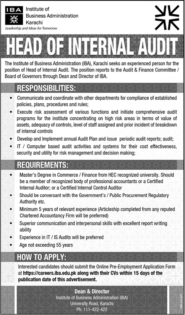 jobs in Institute Of Business Administration IBA july 2017