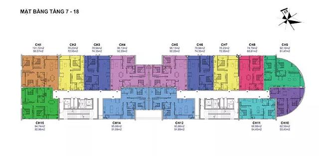 Mặt bằng chung cư tầng 7 – 18 Chung Cư Tây Hồ River View