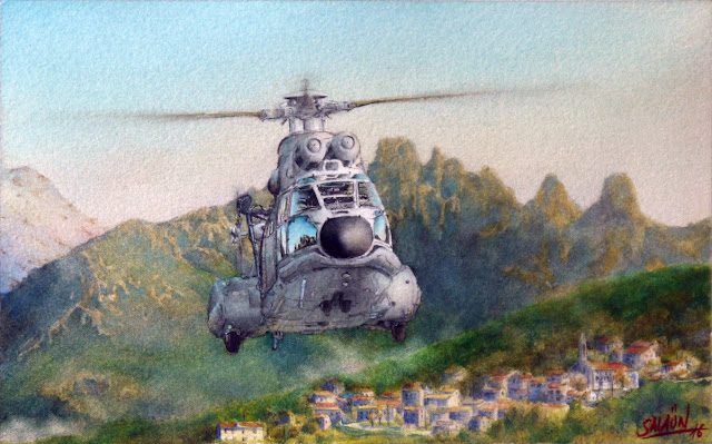 Aquarelle, Hélicoptères, AS-332, Super-Puma, EH 01-044 Solenzara