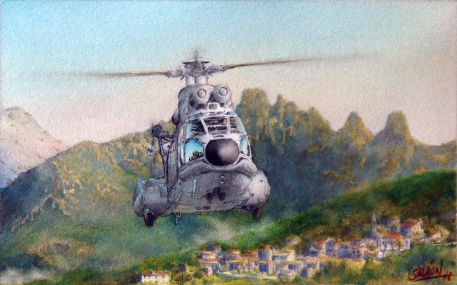 Aquarelle, Hélicoptères, AS-332, Super-Puma, EH 01-044 Solenzara