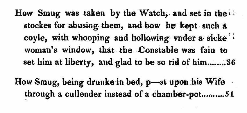Actual accounts of the English jester Smug