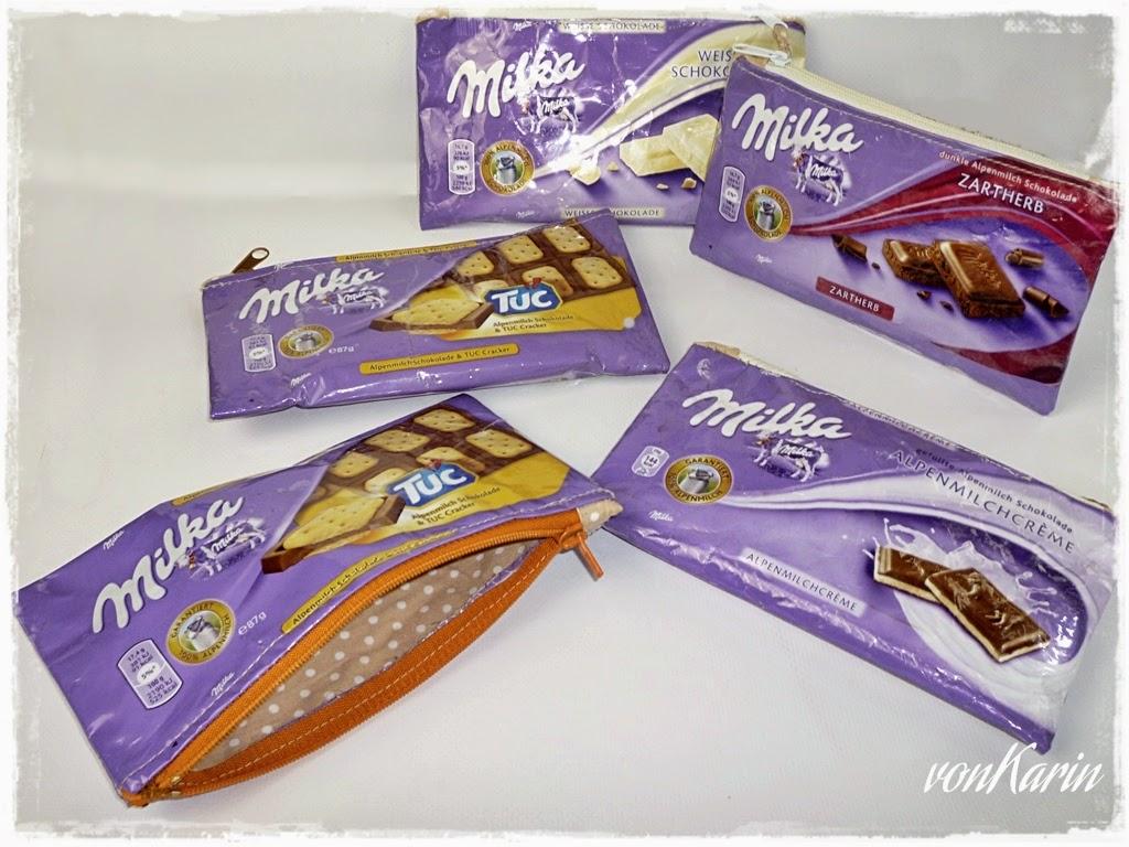 Fuenf Reissverschlusstaeschchen aus Milka Schokolade Papier genaeht