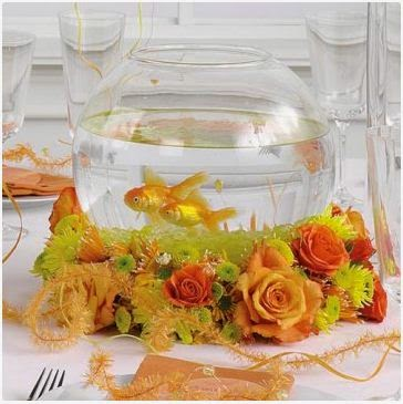 ideas for wedding fish bowls decorations flowers