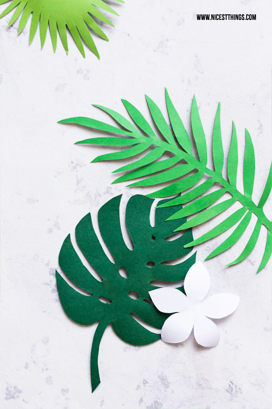 Printable Freebie Template Exotic Leaves Monstera Frangipani Palm Tree