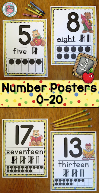 This is a set of number posters 0-20 with a delightful school bears theme, appropriate for displaying in preschool, kindergarten, or first grade classrooms. $