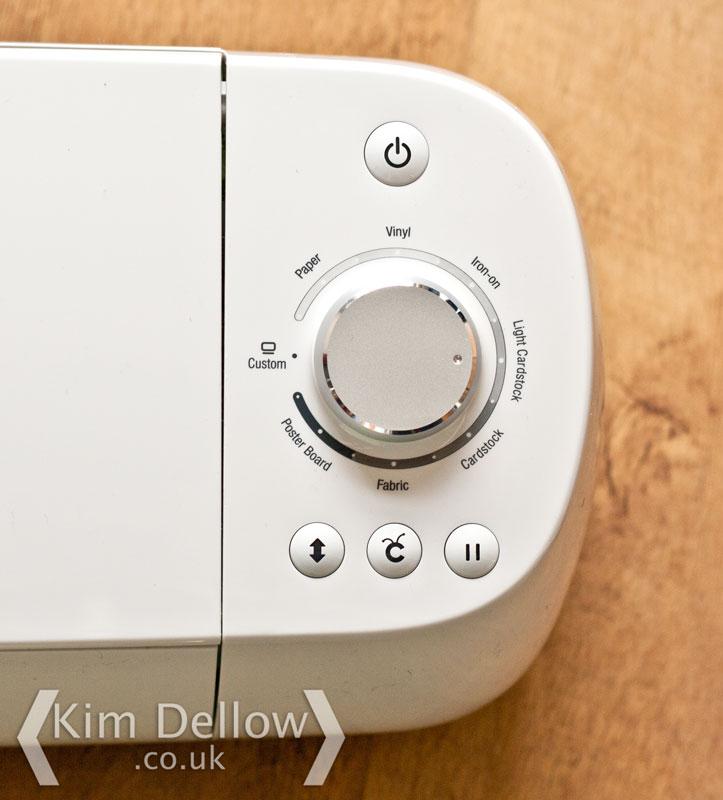 Close up of the Cricut Explore material dial