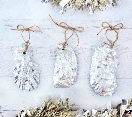 Recycled Oyster Shell Ornaments Painted Silver