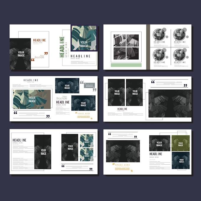 Brochures templates contrast decor leaves sketch modern design Free vector