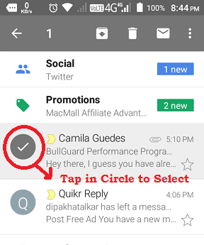 Delete Multiple Emails in Gmail App