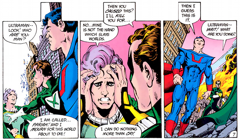 Crisis on Infinite Earths #1 Writer: Marv Wolfman, Robert Greenberger, Pencils: George Pérez, Inks: Dick Giordano, Colors: Anthony Tollin, Letters: John Costanza