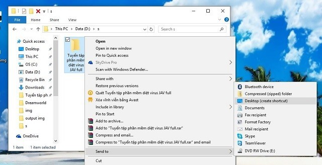 hướng dẫn tạo icon shortcut ngoài desktop