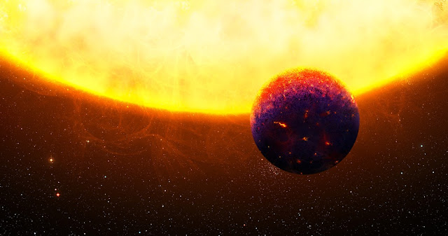 Illustration of one of the exotic super-Earth candidates, 55 Cnc e, which are rich in sapphires and rubies and might shimmer in blue and red colors. (Illustration: Thibaut Roger)
