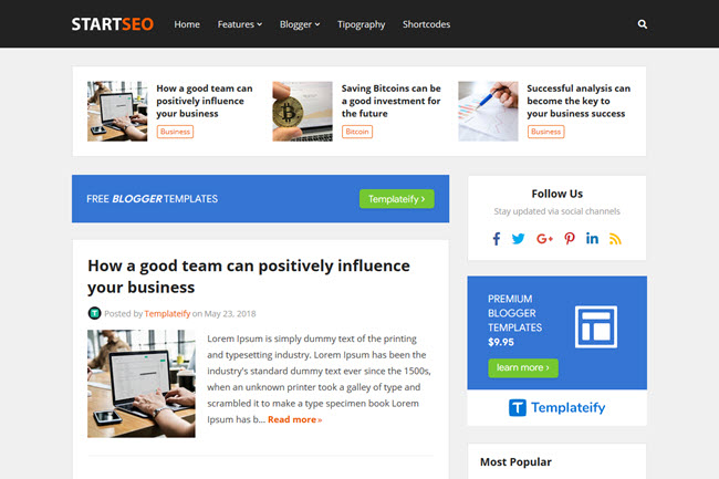 StartSeo - Blogger Template