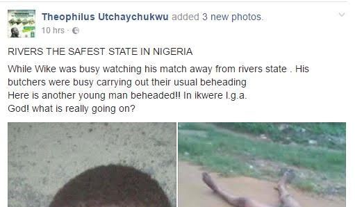 Graphic photos: Suspected cultist beheaded in River State